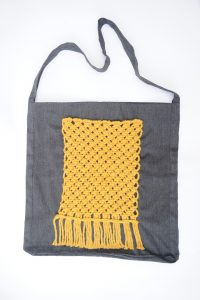 Recycled Tote With Yellow Pocket