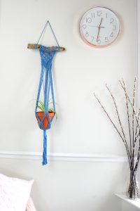 blue cotton driftwood plant hanger