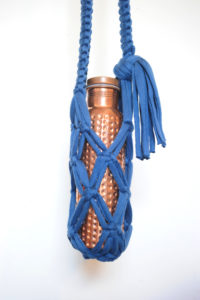 Bottle Carrier - Recycled Blue Cotton
