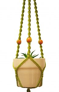 green jute with beads - close up