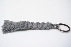 Braided Keyring - Grey